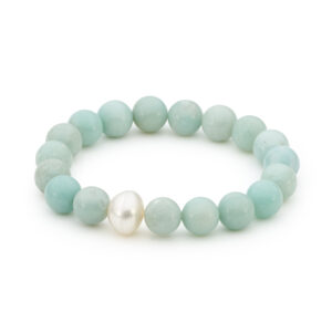 Amazonite and South Sea Pearl Bracelet