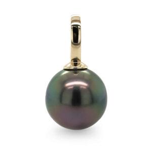 black pearl pendant, tahitian pearl pendant, yellow gold pendant