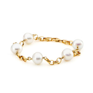 pearl bracelet yellow gold chain