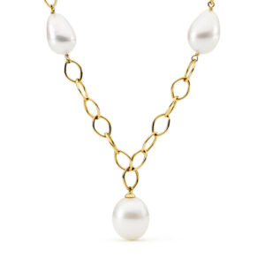 yellow gold chain, south sea pearl necklace