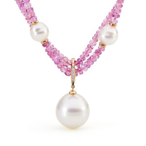 pink sapphire south sea pearl necklace enhancer