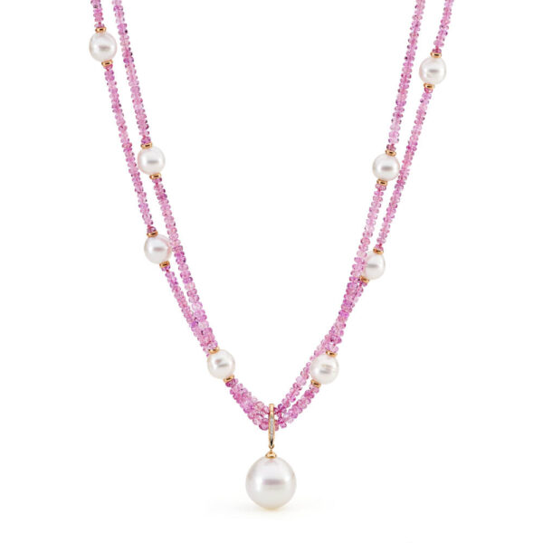 pink sapphire south sea pearl necklace enhancer rose gold