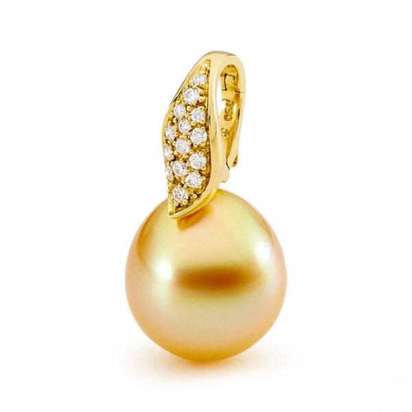 gold pearl pave set enhancer pendant