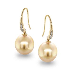 11-12mm Golden drop oval South Sea Earrings