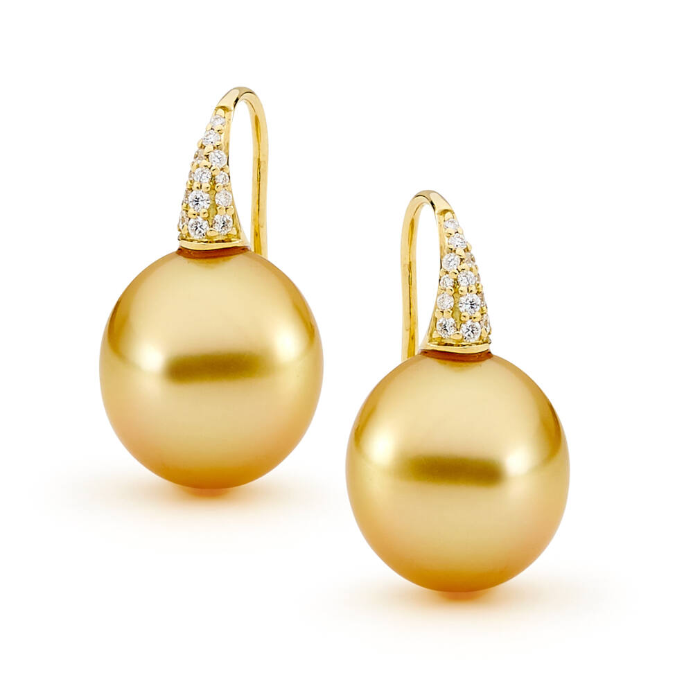 12-13mm Golden South Sea Oval Pearls on Pave Hooks