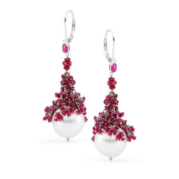 ruby cluster pearl earrings
