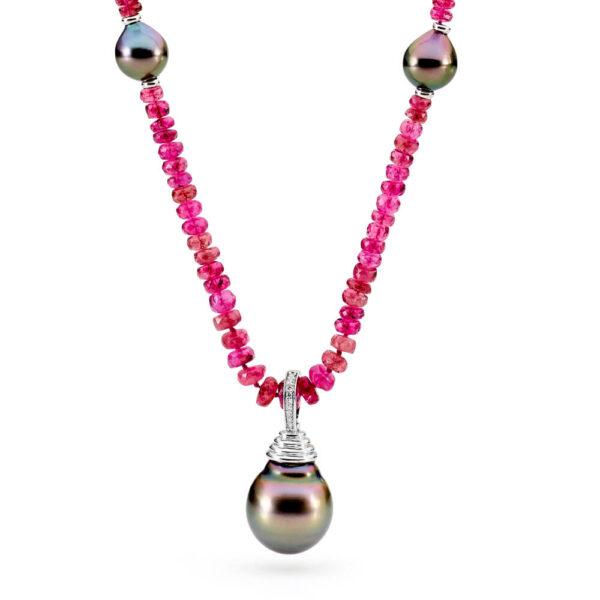 pink tourmaline and Tahitian pearl necklace