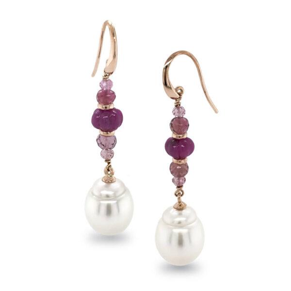 Ruby, Pink Tourmaline & Pearl Earrings