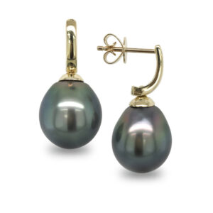 Yellow Gold Stud Drop Tahitian Pearl Earrings