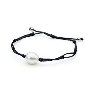 South Sea Thin Cord Bracelet Black