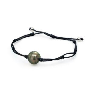 Tahitian Thin Cord Bracelet Black