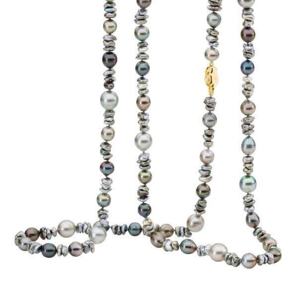 Mixed Keshi and Tahitian Pearl Necklace