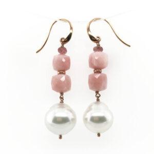 Pink Opal & South Sea Pearl Drop Earrings