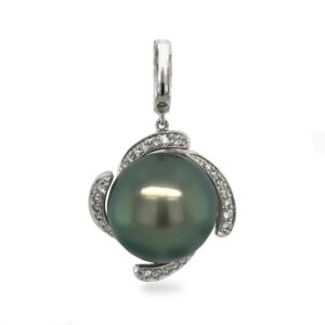 A 14 mm Tahitian Pearl, button in shape, green in colour, AAA luster and grade 1, set on 14 carat white gold enhancer pendant, amongst a swirl of 28 diamonds, totaling 0.25 carats.