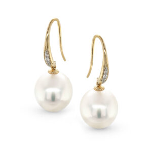 14 ct Yellow Gold Diamond Hooks with 11mm South Sea Pearl Earrings