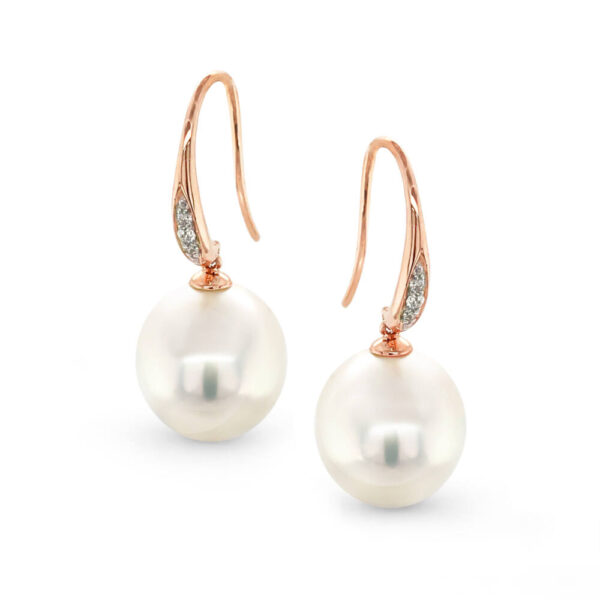 14 ct Rose Gold Diamond Hooks with 11mm South Sea Pearl Earrings