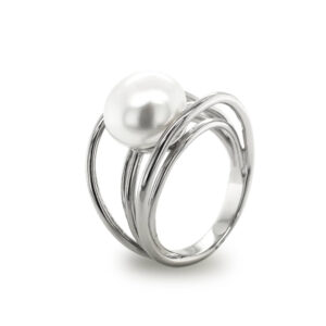 Silver 5 Wire Pearl Ring