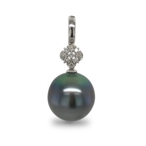A Tahitian Pearl, oval in shape and 15mm in size, peacock- blue in colour, grade 2 with AAA luster, set on a 14 carat white gold enhancer, with a large diamond set setting, with 9 diamonds totaling 0.10 carats.