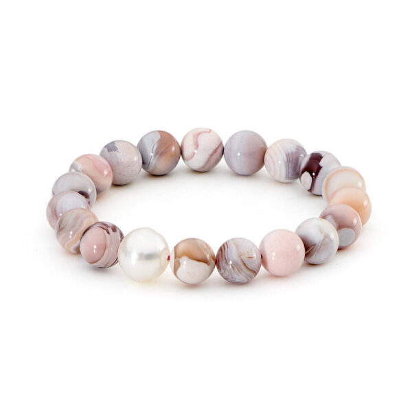 pink botswana agate polished with south sea pearl bracelet