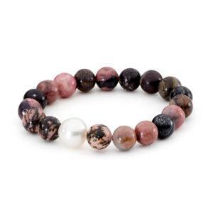 Pink & Black Rhodonite with South Sea Pearl Elastic Bracelet