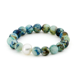 Chrysocolla Azurite (Matt) & South Sea Pearl Elastic Bracelet