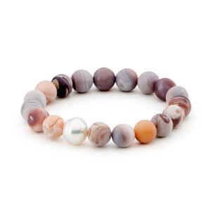 pink botswana agate matt finish with south sea pearl elastic bracelet