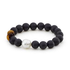 Onyx Matt Finish, Tigers Eye & South Sea Pearl Elastic Bracelet