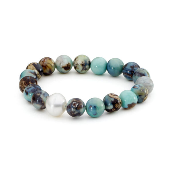 Robin's egg blue agate and south sea pearl elastic bracelet