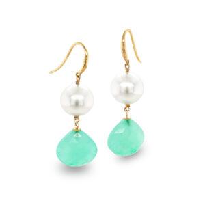 Chrysoprase & South Sea Pearl Earrings