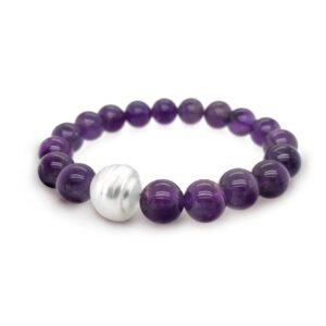 Amethyst & South Sea Pearl Elastic Bracelet