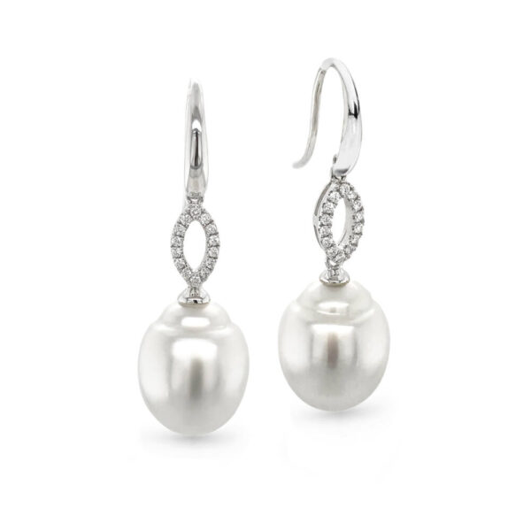 12mm South Sea Pearl & Marquise Diamond Earrings
