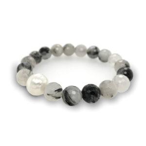 Rutilated Quartz (Mirror Ball Cut) and South Sea Pearl Elastic Bracelet