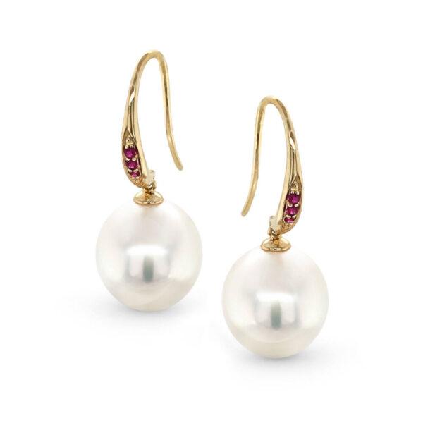 South Sea Pearl & Ruby Set Yellow Gold Hook Earrings