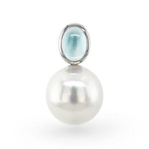 Blue Topaz & South Sea Pearl Pendant