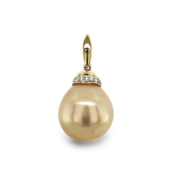 13mm Golden Pearl & Diamond Pendant
