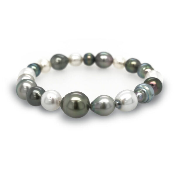 Tahitian & White Pearl Elastic Bracelet
