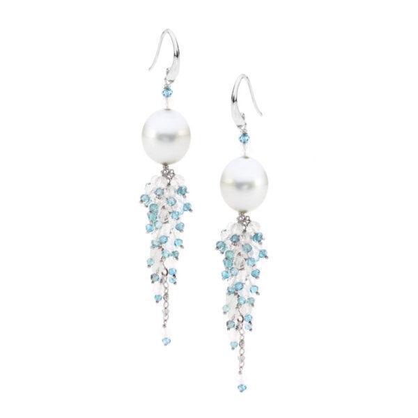 Blue Zircon & Moonstone Cluster Earrings