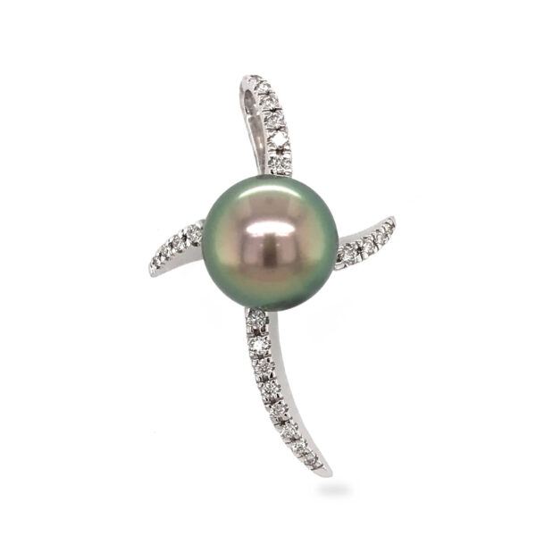A diamond set starfish inspired pendant, with a 10 mm round pistachio-green Tahitian Pearl. The pendant is 18 carat white gold, set with 22 diamonds totaling 0.18 carats. The pearl is grade 1 with a AAA luster