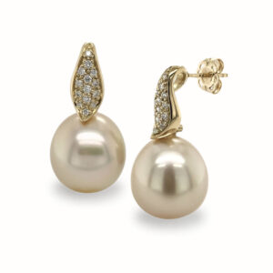 14mm Golden Pearls on Diamond Set Drop Studs