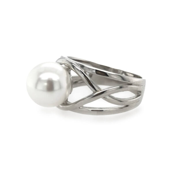 Sterling Silver Weave Pearl Ring