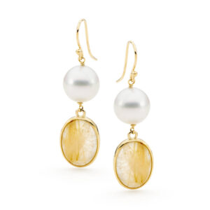Rutilated Quartz & South Sea Pearl Earrings