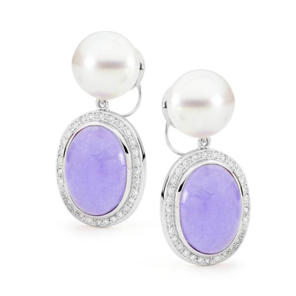 Lavender Jade & South Sea Pearl Earrings