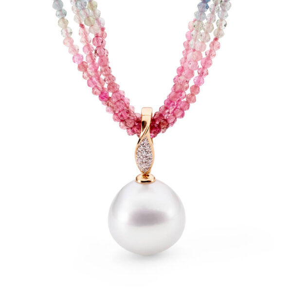 Multi-row Tourmaline Necklace with 16mm South Sea Pearl Enhancer