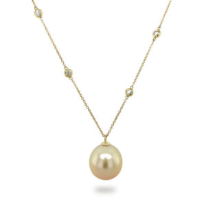 Diamond Station Necklace with Golden South Sea Pearl