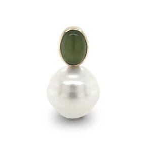 Jade and South Sea Circle Pearl Pendant
