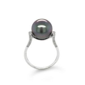 Diamond Shoulder Tahitian Pearl Ring