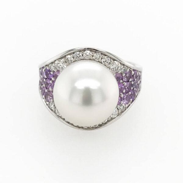 Purple Sapphire, Diamond & Pearl Ring