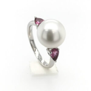 Pink Tourmaline & South Sea Pearl Ring