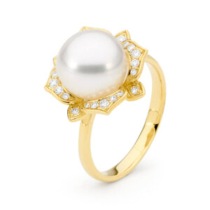 Yellow Gold Floral Pearl Ring