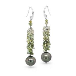 Green Tourmaline and Tahitian Pearl Cluster Earrings